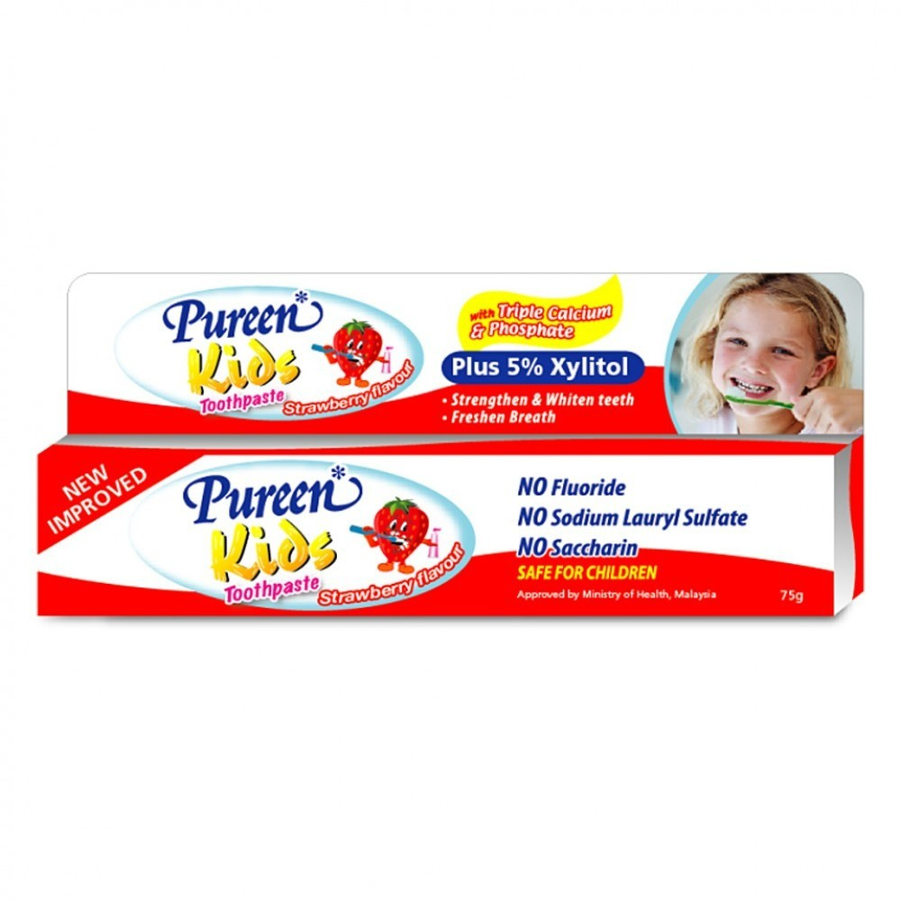 Pureen Kids Toothpaste Fluoride Free (2 x 75g) [Free Toothbrush]
