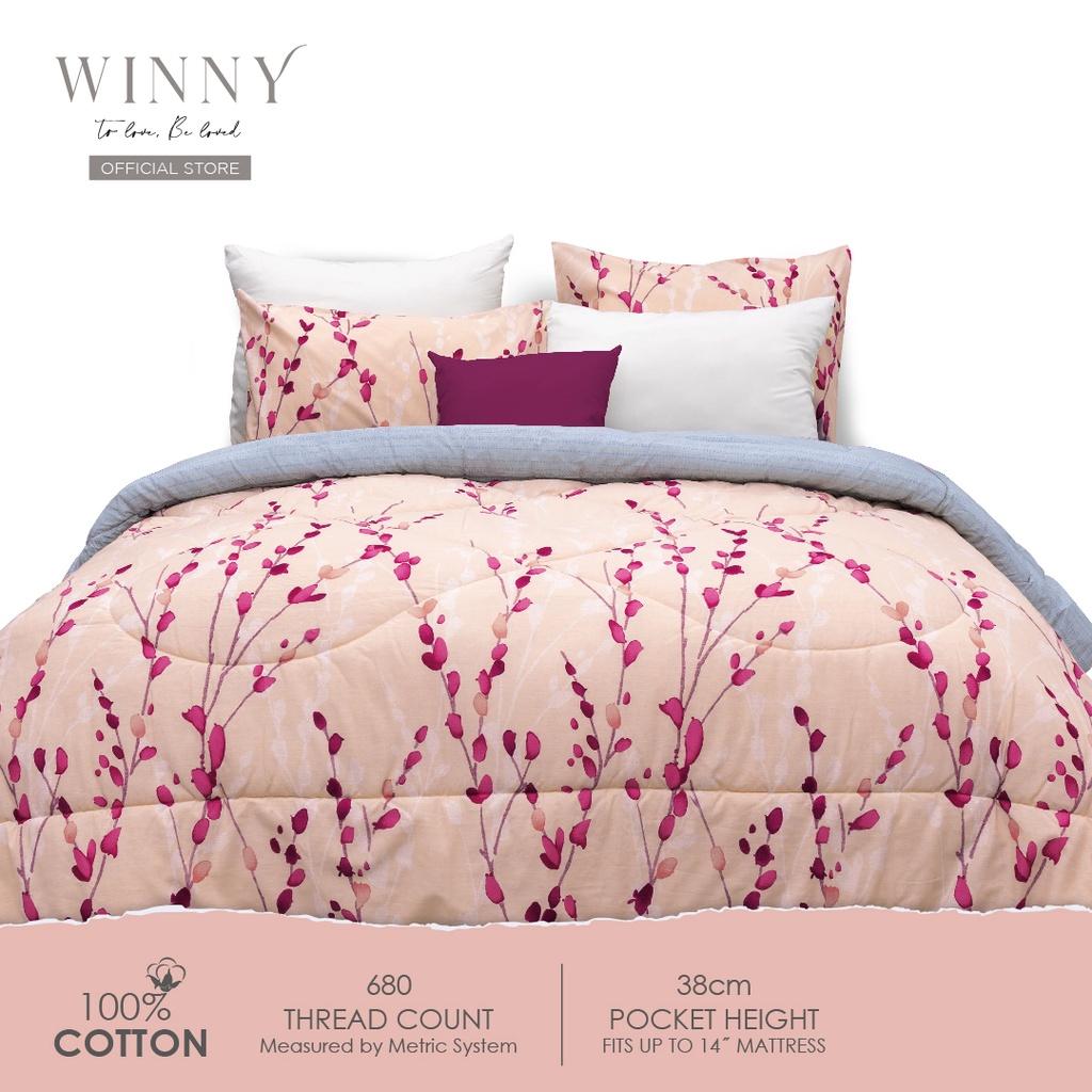 Winny Floreal Comforter Set 680 TC (SUPER SINGLE/QUEEN/KING)-COTTON