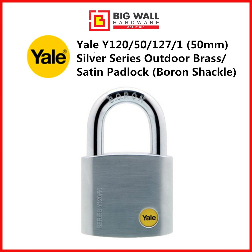 Yale Y120/50/127 50mm  (available in 1-5 pcs set) Silver Series Outdoor Brass/Satin Padlock (Boron Shackle) *Mangga Kunc