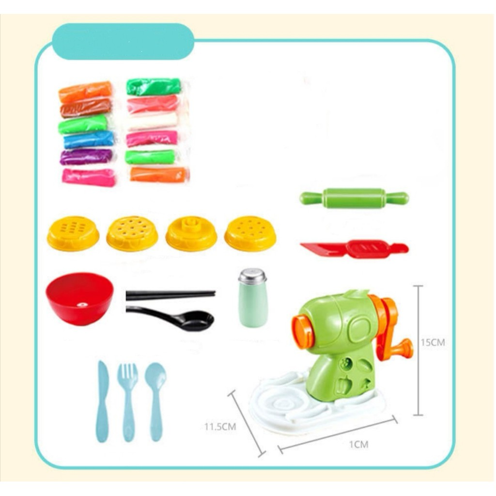 [ READY STOCK ]  3D Color Clay Mold Set Noodles Machine Kitchen Pretend Play Toy Jualan Murah Budak Mainan Baby Play Doh