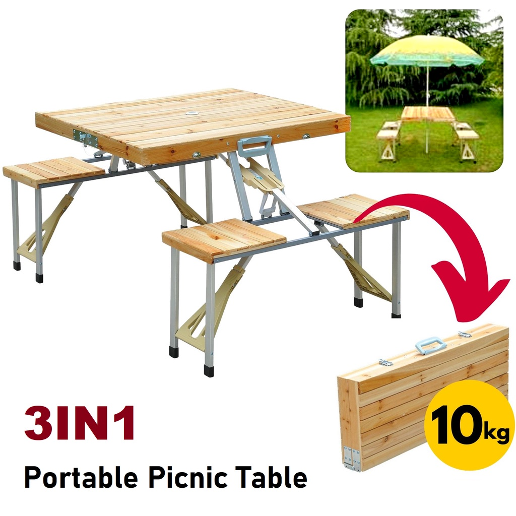 Wooden Foldable Picnic Table Easy To Carry Outdoor Camping Table with 4 Chair/ Meja Lipat