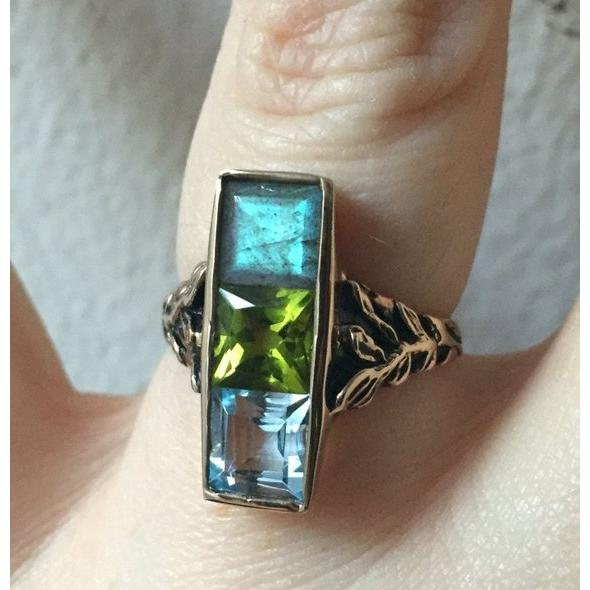 Unique 925 Silver Ring Made of Blue Topaz Emerald Blue