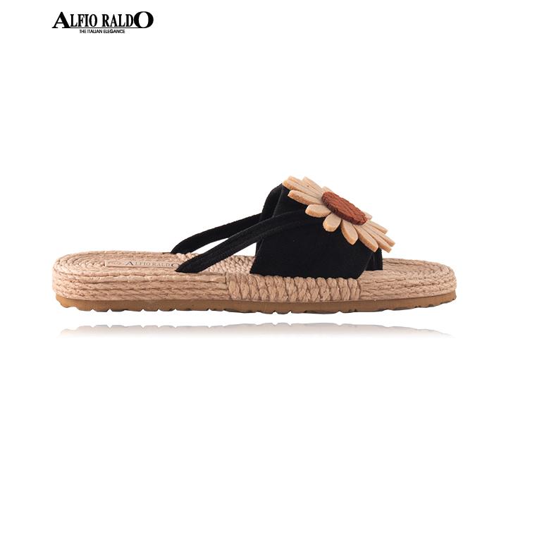 Alfio Raldo Easy Wear Open Toe Black with Sunflower Cutout Design Sandal