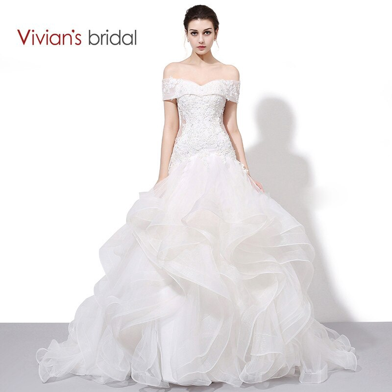 Vivian S Bridal Boat Neck Off Shoulder Ruffled Mermaid Wedding Dress Lace Sequin Gown