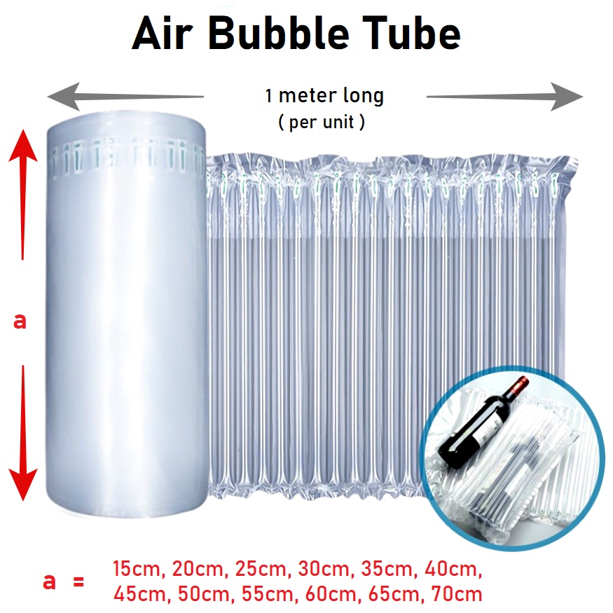 1 Meter Inflatable Air Bubble Roll Shockproof Packaging Protective Bubble Tube Wrap (1m)