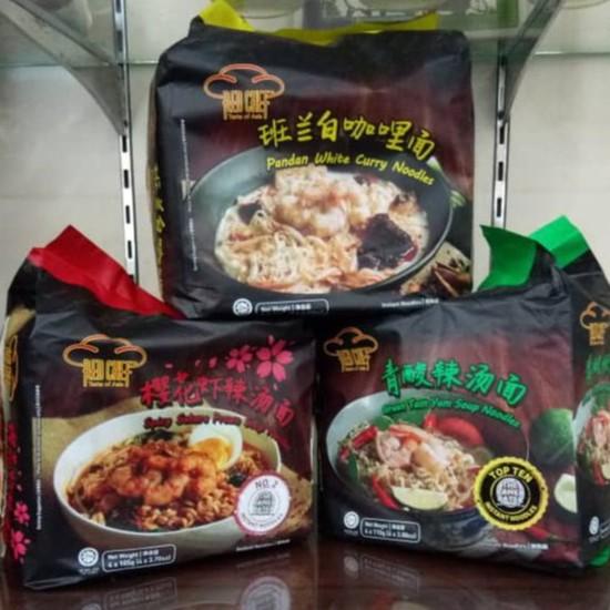 [1 CTN] RED CHEF - Sakura Prawn / White Curry / Tom Yum / Sesame Noodles (4 Packs)  **Fresh & New & Ready Stocks**