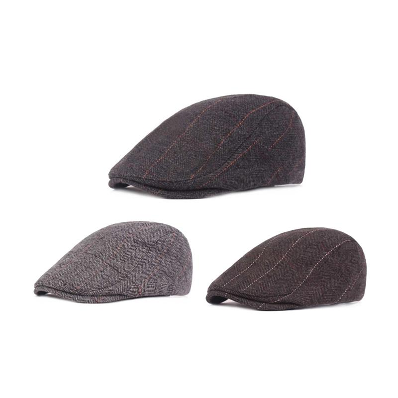 8d4e4b0d2 Autumn Winter Men Cap Hats Berets Classic Vintage Striped Beret Cap ...