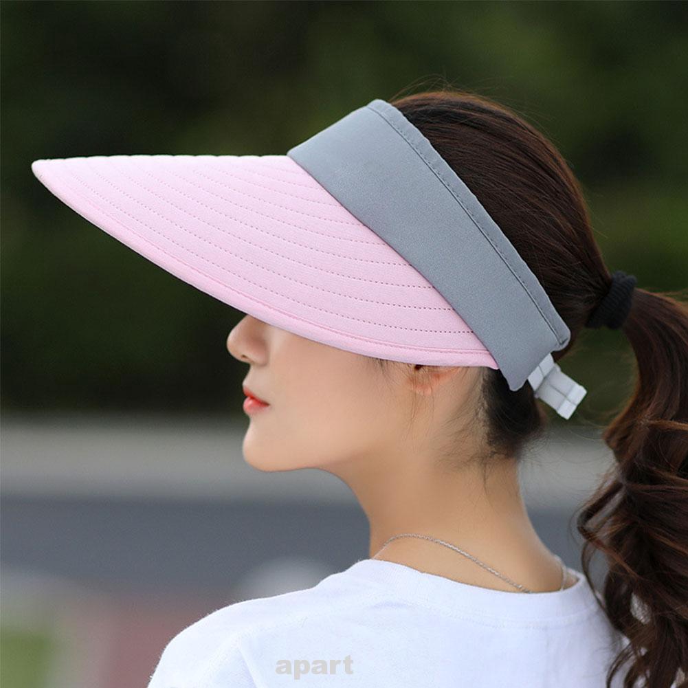 Beach Polyester Foldable Women Sun Hat Outdoor Visors Portable Lightweight Camping Casual Summer Sunscreen Adjustable