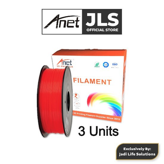 Anet 340m 1.75mm PLA 3D Printing Filament Biodegradable Material - Red (3 Units)