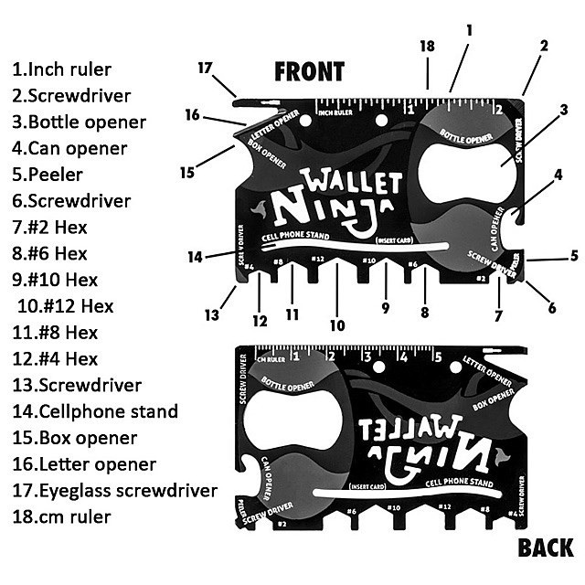 MALAYSIA: 18 IN 1 TOOL SIZE BEG DUIT WALLET/ ALATAN SERBAGUNA/ 18 useful, everyday tools with the Wallet Ninja.