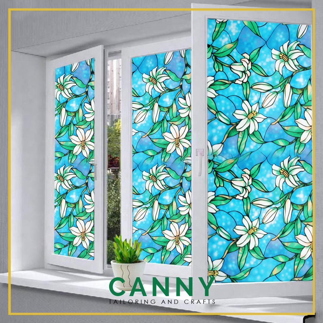 2 METERS GLASS STICKER FLOWERY, TINTED NON SEE FLOWERY THROUGH WIDTH 45CM /  45CM X 200CM