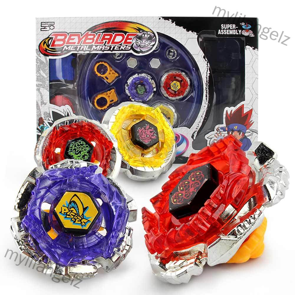 Mylilangelz 4pcs/set Cool Burst Beyblade Arena Spinning Top Alloy Kids Fighting Gyro Game Toys Children Gifts