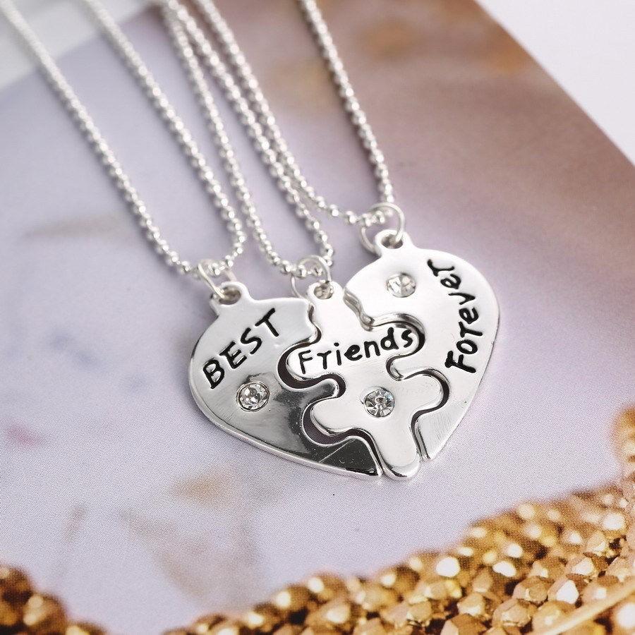 BFF Best Friend Forever 3 Part Love Break Heart Pendent Friendship Necklace Gift