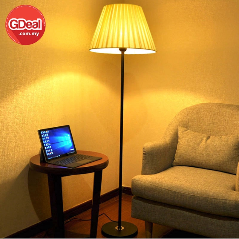 GDeal Modern Minimalist Floor Lamp Plastic Shade Living Room Nordic Warm Fabric Bedroom Bedside Lamp With Bulb