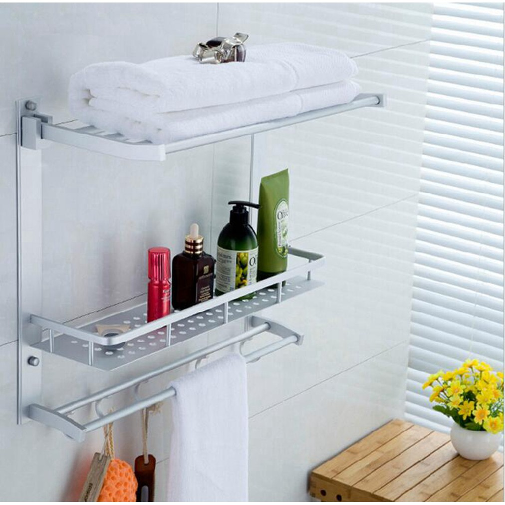 Dual Layer Rack Corner Shelf Space Aluminum Bathroom with Hooks ...