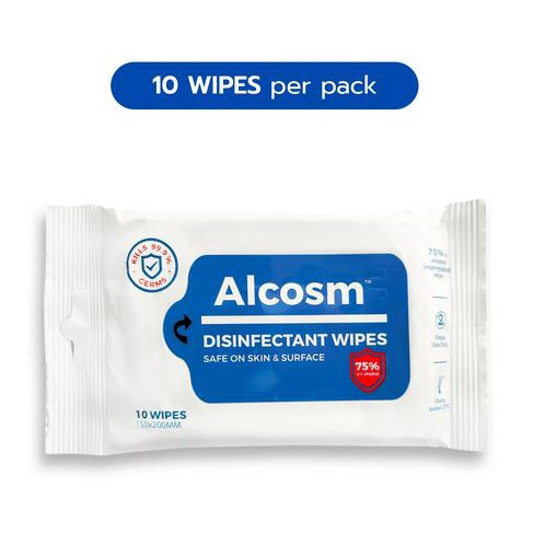 Alcosm™ 75% Alcohol Disinfectant Wipes 10\'s