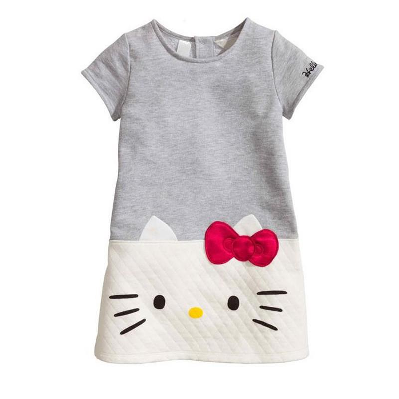 3-9Y Cute Cartoon Pattern Short Sleeve Baby Girls Dress 2018 Summer