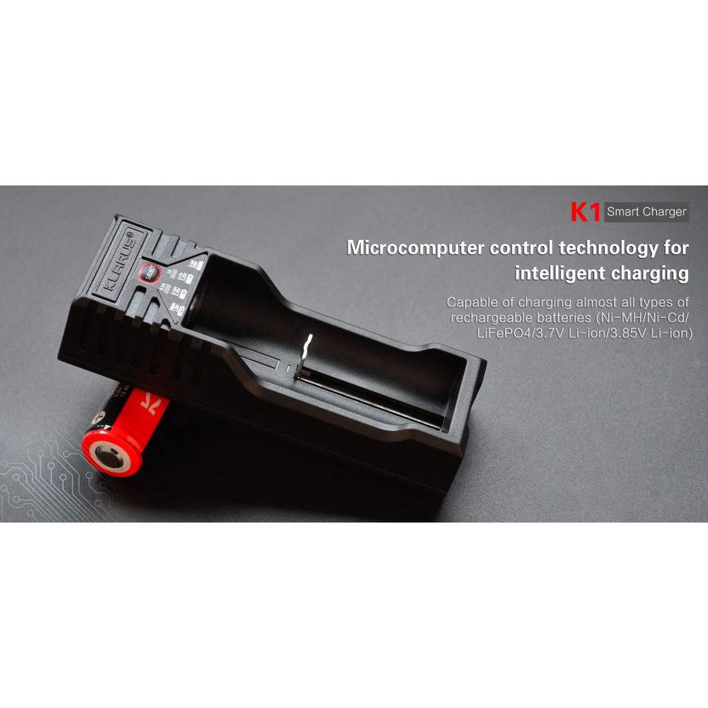 Klarus K1 Smart Battery Charger For Li-ion 18650 16340//Ni-MH//NiCd AA AAA w// Plug