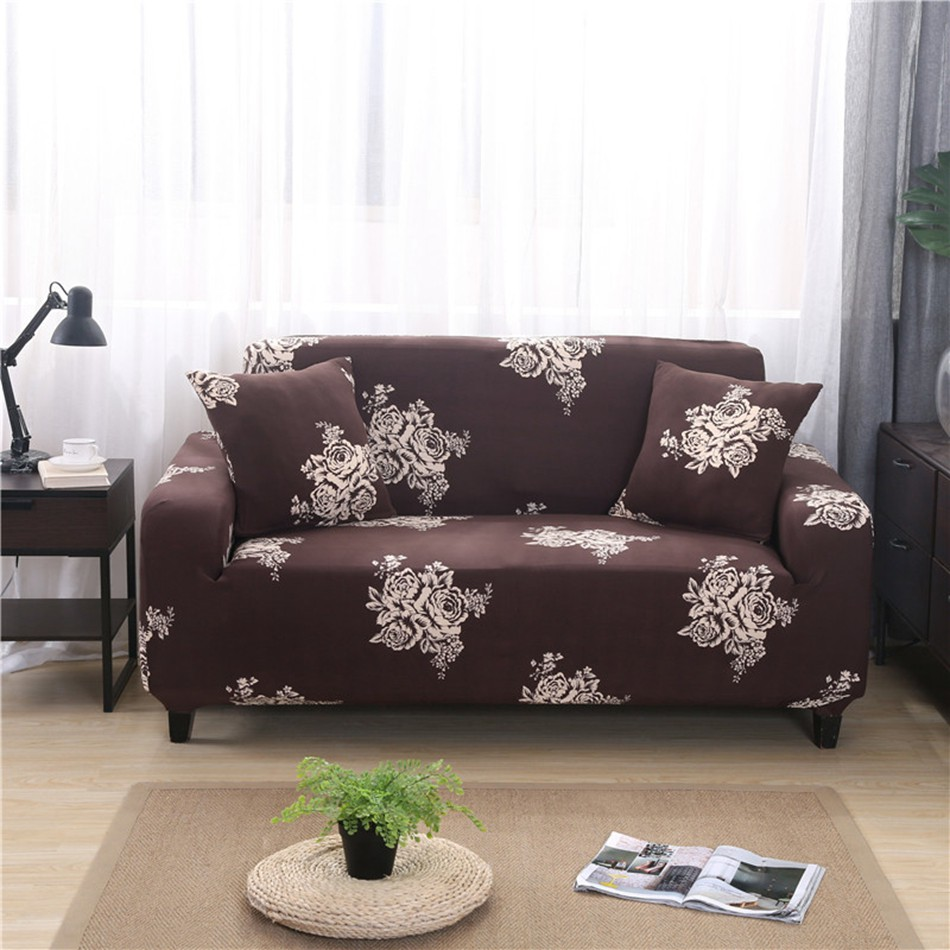 Brown Flowers Stretch Sectional Sofa Covers Elastic L Shape Sofa Slipcovers
