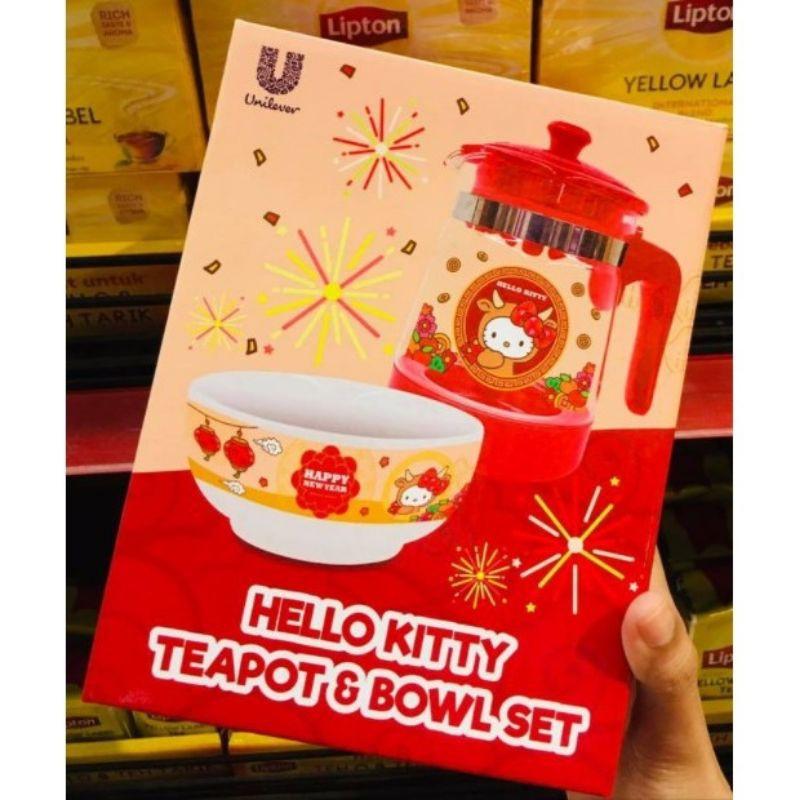 Limited Edition!!!  Original Hello Kitty Teapot & Bowl Set by Unilever Food Lipton Ladies Choice