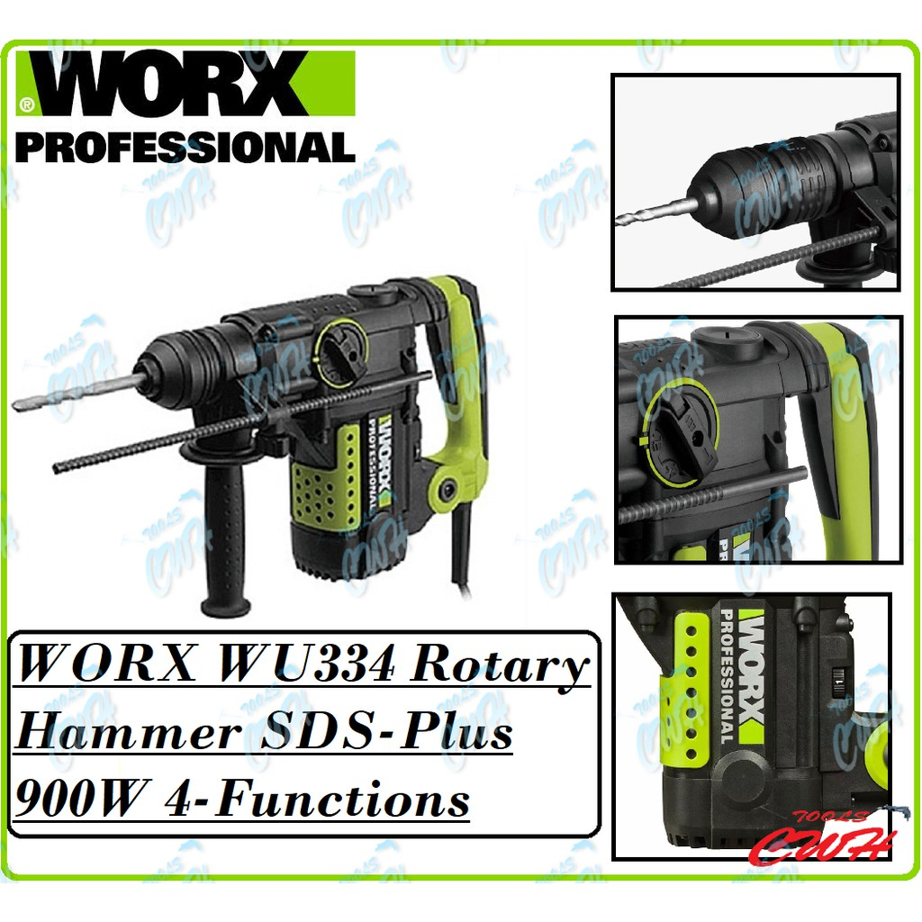 WORX WU334 32MM 4-FUNCTION ROTARY HAMMER DRILL SDS PLUS SDS+ 900W 5.5J HACKING CHISEL