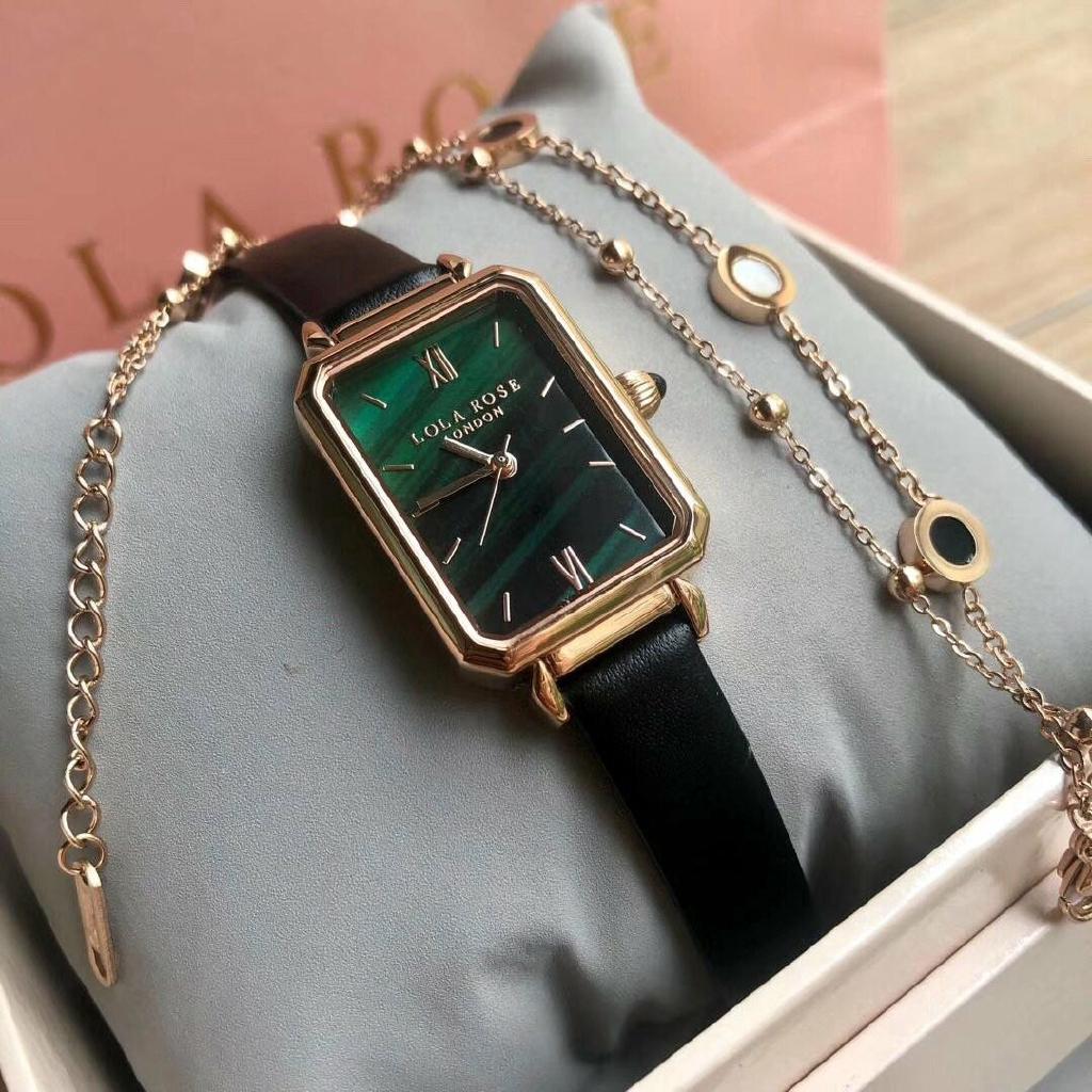 Ready Stock] Original Lola Rose Malachite Green Watch Set With Bracelet  20*27mm Women's Watch Leather Strap Ladies Fashion Watches Green DIal Watch  | Shopee Malaysia