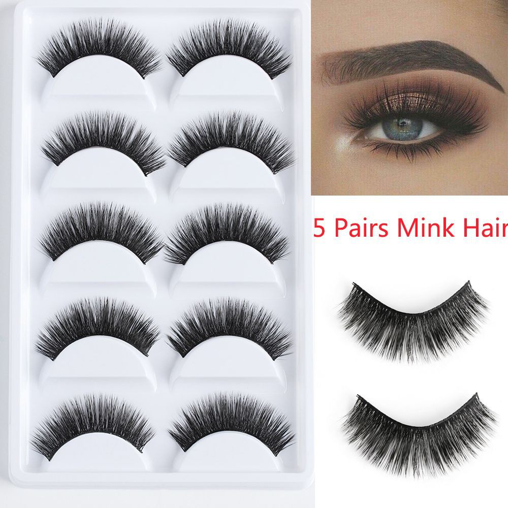 b556cde8609 ProductImage. ProductImage. 5 Pairs Long Wispy Handmade Extension Tools  Thick False Eyelashes 3D Mink Hair