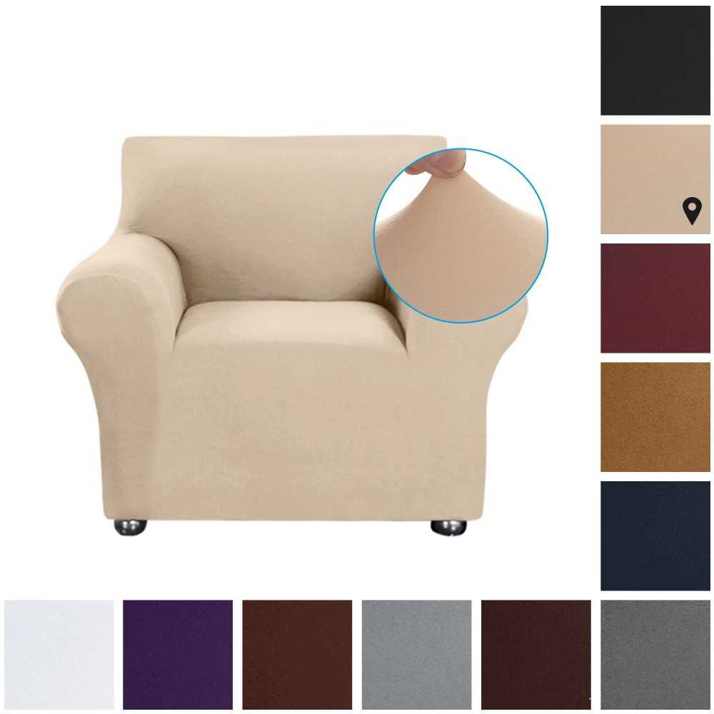Stretch Sofa Slipcover Milk Silk Fabric Anti-Slip Soft Couch Sofa Cover 1 Seater Washable for Living Room Kids Pets(Bei