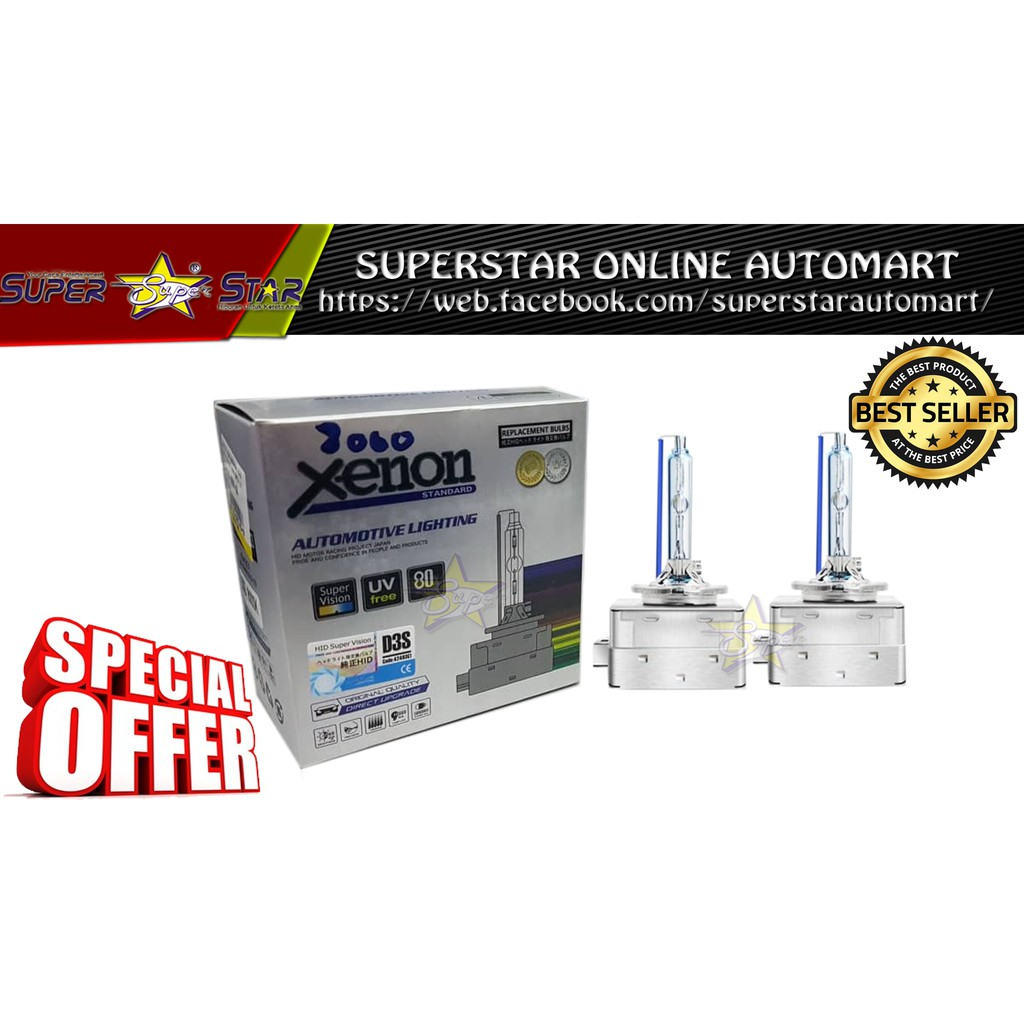 D3S High Quality 12V35W Hid Xenon Replacement Xenon Bulbs 8000K + 80% More Light