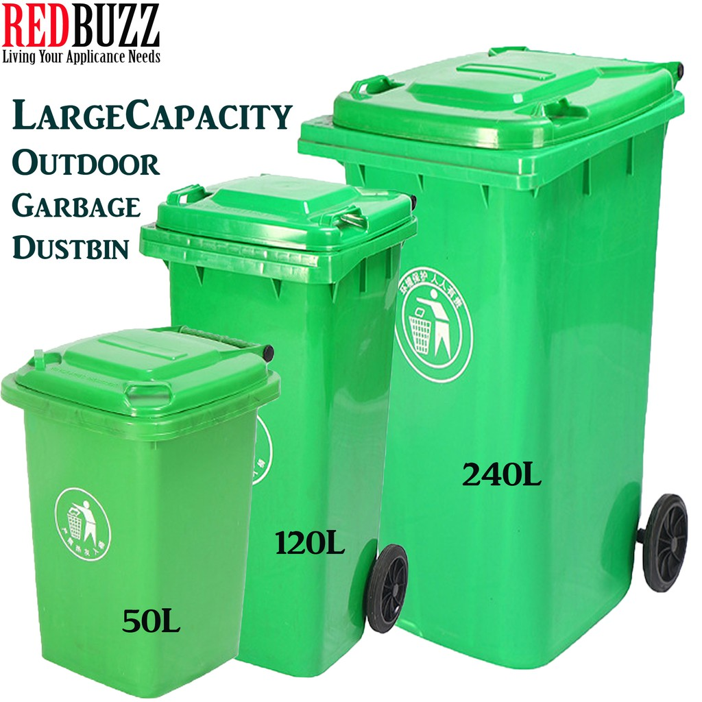 50L Plastic Recycle Bin With Lid Trash Waste Rubbish Dustbin Garbage Recycling