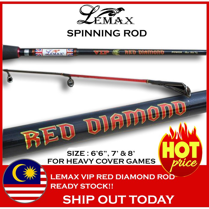 HOT ITEM LEMAX VIP RED DIAMOND SPINNING ROD