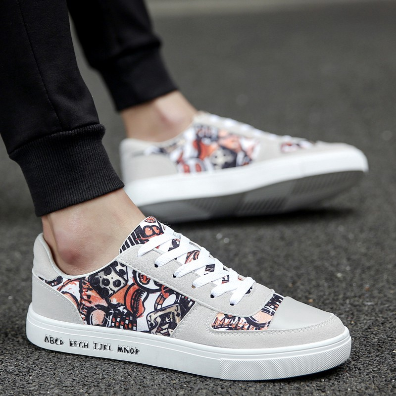0545335ef8d3a Korean Fashion Sneakers Men Printed Canvas Shoes Pu Cool Skateboard Sneakers