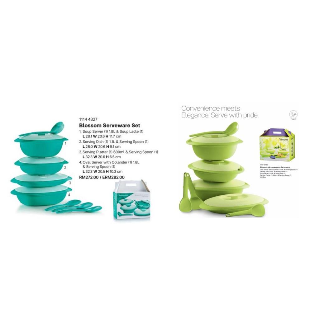 Tupperware Microwaveable Blossom Serving Set (5 pcs) Tableware Bekas Lauk