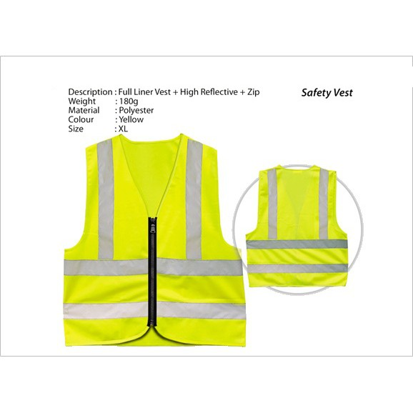 Yellow Safety Vest With Reflective Strip High Visibility Zip Type XL