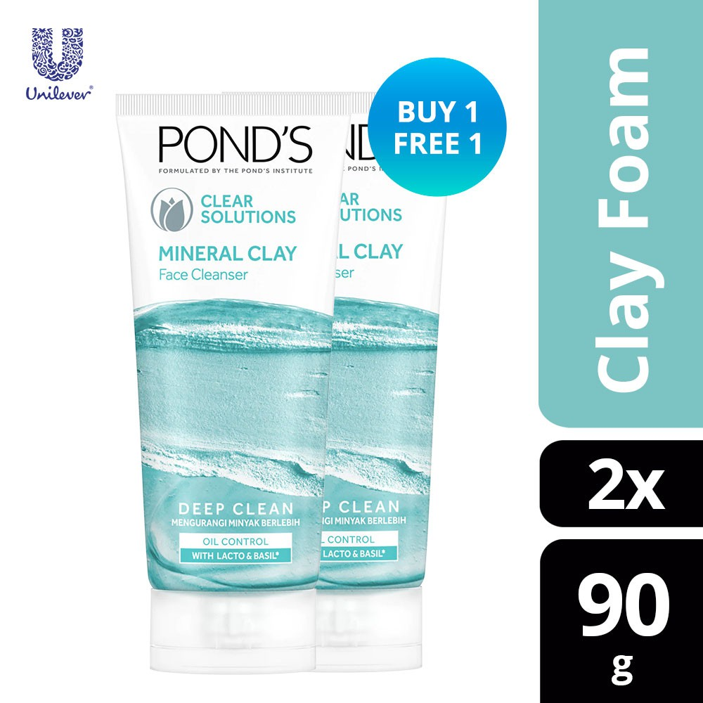 [BUY 1 FREE 1] Pond's Clear Solutions Mineral Clay Face Cleanser 90g