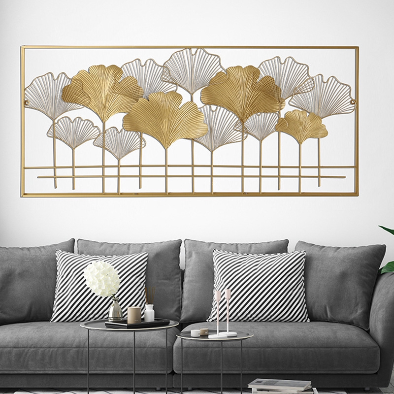 Rectangular Ginkgo Leaf Wall Decoration Living Room Study Background Decoration Golden Iron Wall Decoration Shopee Malaysia