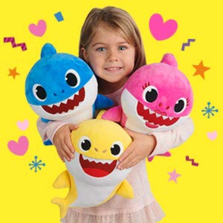 5PCS Set Baby Shark Plush Singing LED Light Plush Toys Music Doll English Song
