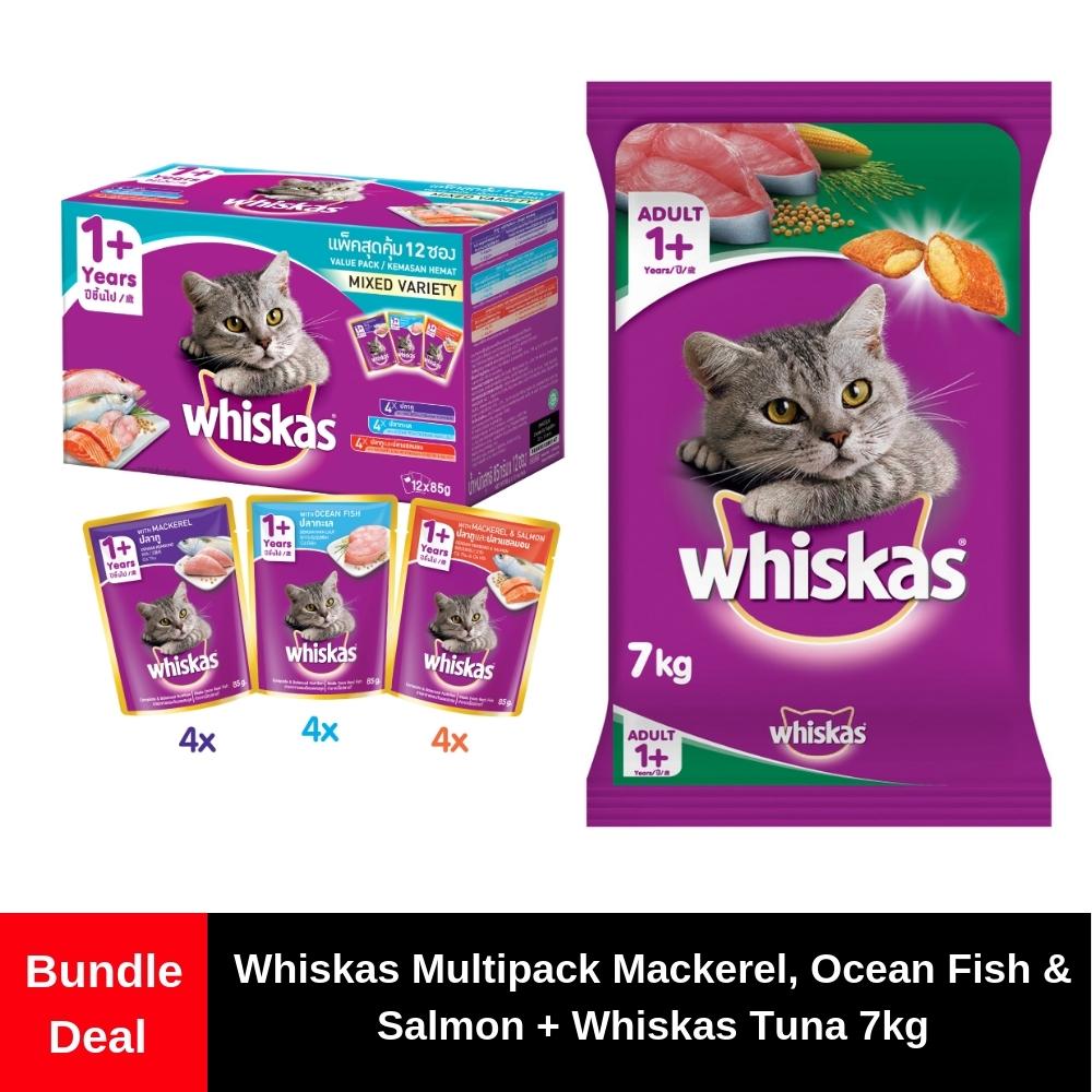 Whiskas Pouch Multipack Ocean Fish, Tuna & White Fish + Whiskas Ocean Fish ( 7kg)   Shopee Malaysia