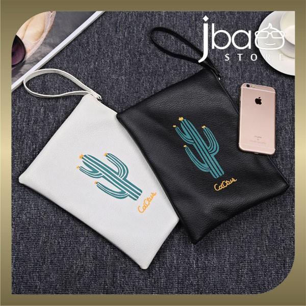 Cactus PU Wristlet Zip Clutch Bag Cosmetic Organizer Storage