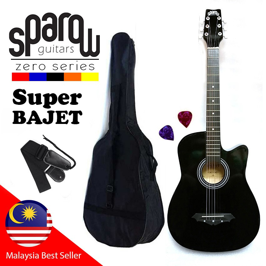 Sparow 38 Inch Acoustic Guitar package with Bag, strap and Pick (BK)