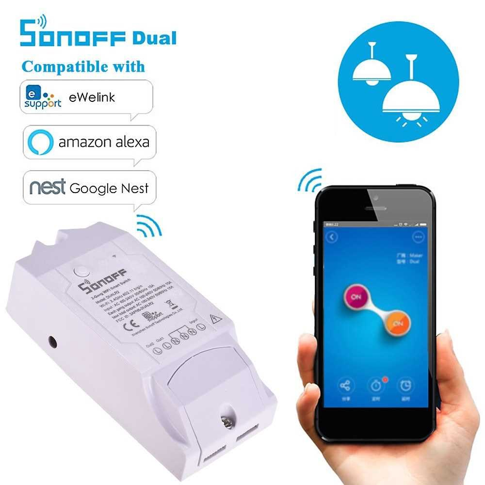 Sonoff Dual R2 WiFi Wireless Smart Switch 2 Gang Smart Home Wifi Remote Controller Compatible with Google Home Alexa (S