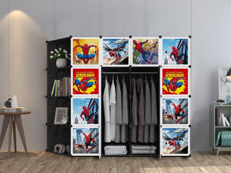 MALAYSIA: SPIDERMAN Black 16 cube C DIY Multipurpose Portable Wardrobe Cabinet Clothes Storage Organizer AlmarI