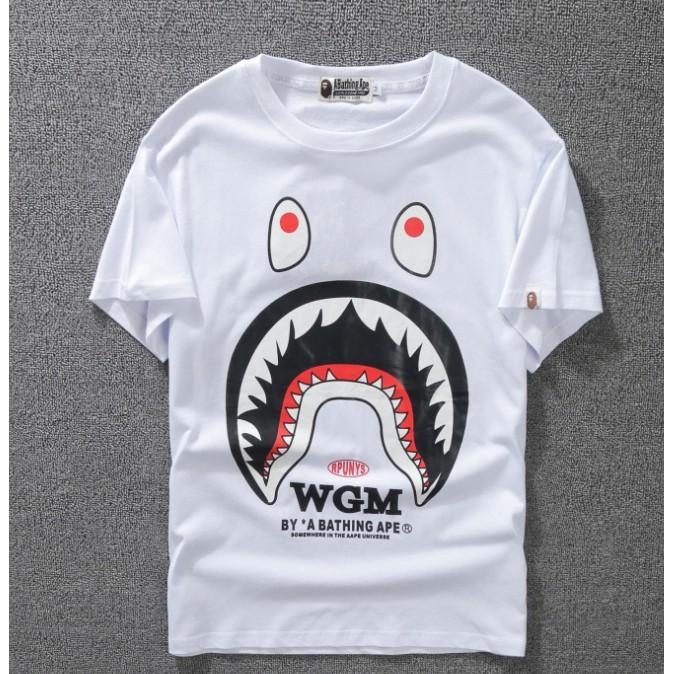 Classic Men/'s Bape White Letters Jaw Pattern A Bathing Ape Cotton T-shirts M-2XL