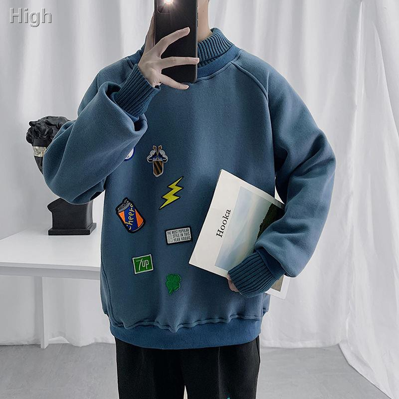 【HOT】☈Autumn and winter spliced sweaters, high collar sweater, boys' student's fake two coats, Korean version loose,
