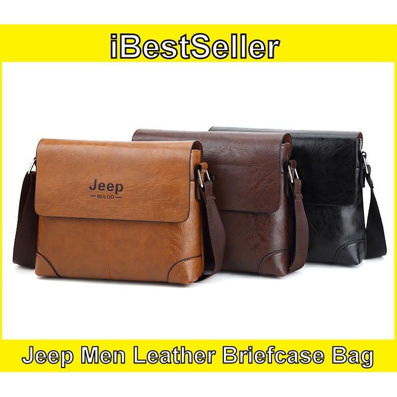 8f9c07d3a6 JEEP BULUO Men Leather Bag Brand New Shoulder Bag Jeep Briefcase Backpack