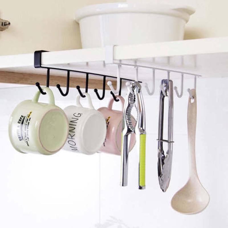 Kitchen Utensils Cup Storage Holder Hanging Hook Under Shelf Rack Hanger 6Hooks