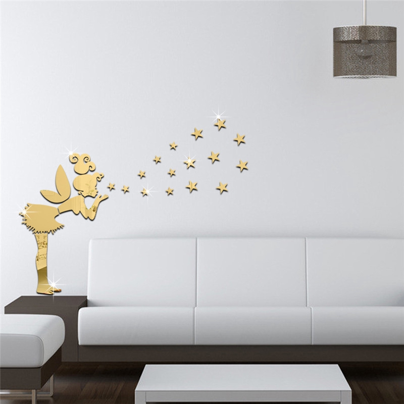DIY Angel Magic Fairy /& Stars 3D Mirror Little Girl Wall Sticker Kids Room Decor