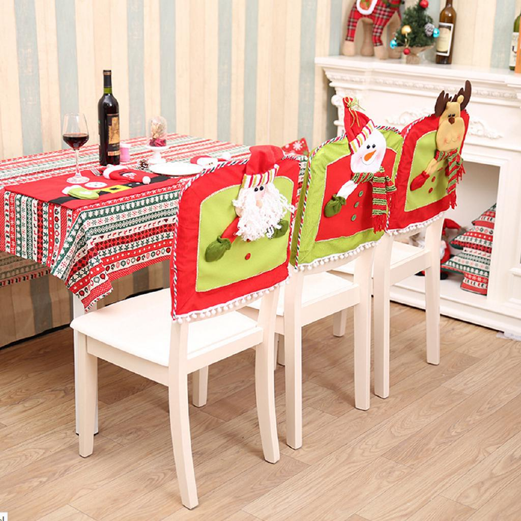 Christmas Chair Back Covers.Christmas Chair Back Cover Santa Claus Elk Snowman Home Dinner Table Kitchen