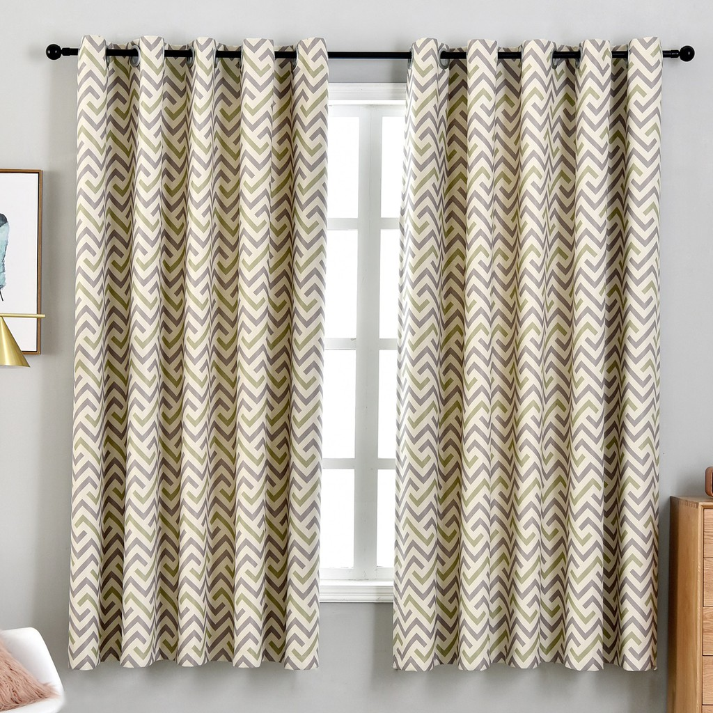 Home Decorative Grey Green Wave Curtains Grommet Hook Top Curtain Fashion Thermal Insulated Room Darken Curtains Shopee Malaysia