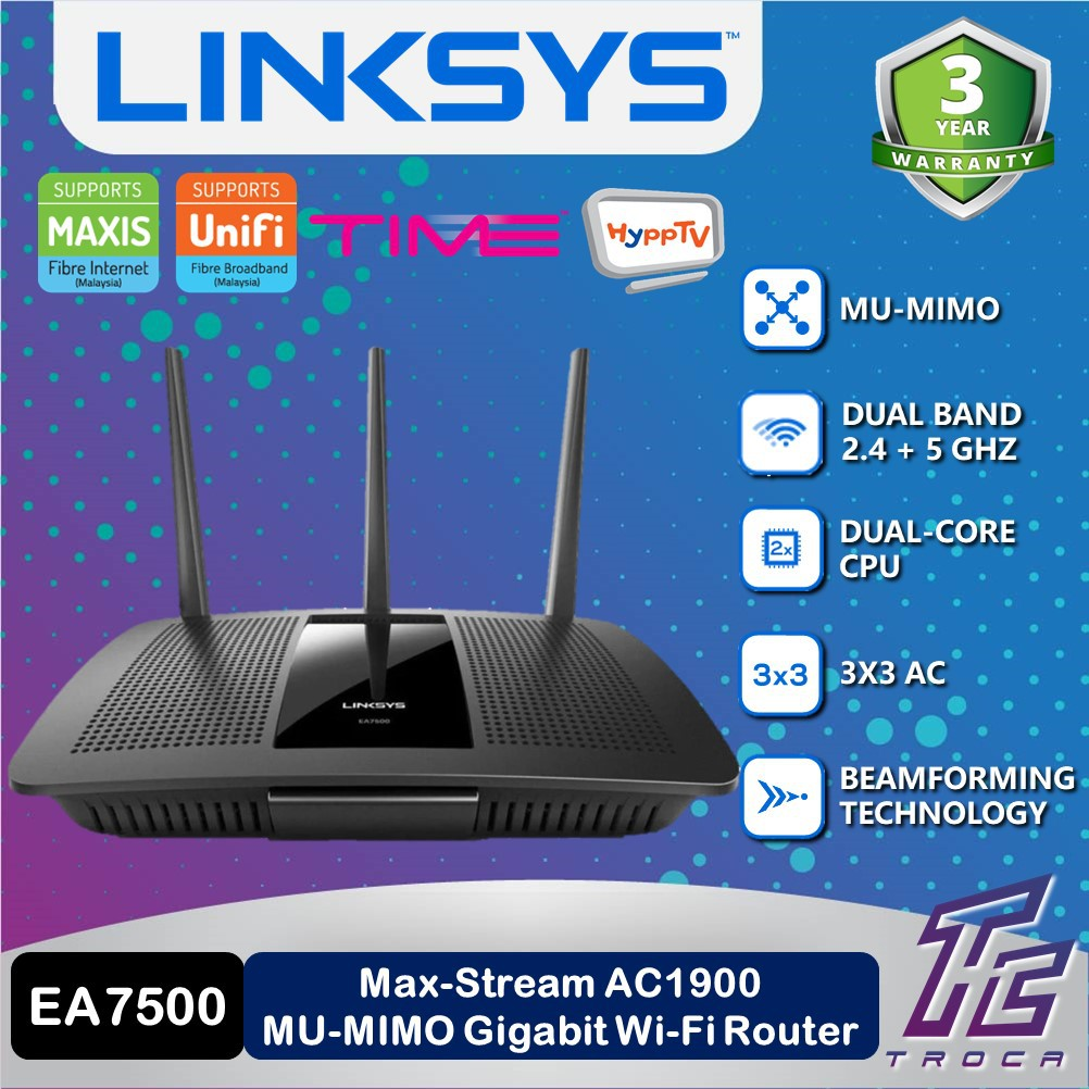 Linksys EA7500-AH AC1900 Max-Stream MU-MIMO Gigabit Dual Band Wireless WiFi  Router for UNIFI , MAXIS , TIME FIBRE